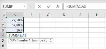 Menjumlahkan persentase di Excel